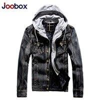JOOBOX מותג גברים סתיו החורף העבה חם מעיל ג 'ינס Slim fit גברים מעילי מעילי ג' ינס בציר אופנה, אפור הכחול שחור