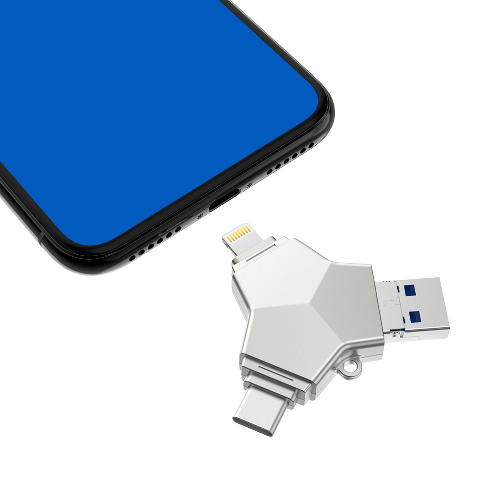 все цены на Sago U016 USB 3.0 Pen Drive 4 in 1 Pen Drive Metal Flash Pen Drive USB Stick Pendrive 32GB/64GB/128GB for iphone Android PC онлайн