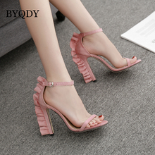 BYQDY Summer Women Sandals High Thin Heels Office Ladies Pumps Woman Shoes Solid Pink Gladiator For Pole Dance Size 35-40