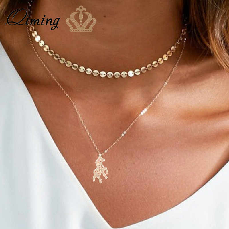 b821af8c4d7fa QIMING Origami Unicorn Women Necklace Fashion Design Lovely Animal ...
