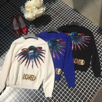 2018 Winter Runway Embroidery Sequins Planet Letter Sweaters and Pullovers Women Long Sleeve Loose Jumper Female Clothing top
