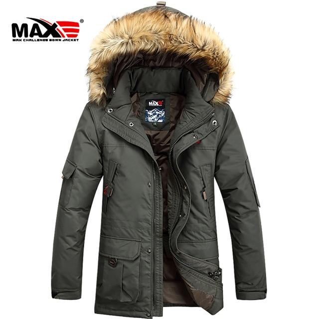 Abajo de la capa larga con capucha, invierno cuello de piel delgada hombres ' s engrosamiento / S-6XL