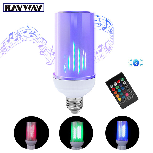 RAYWAY E27 RGB Bluetooth Speaker LED Bulb Light Flame Effect Bulb 8W Music Playing Dimmable  with 24 Keys Remote Control