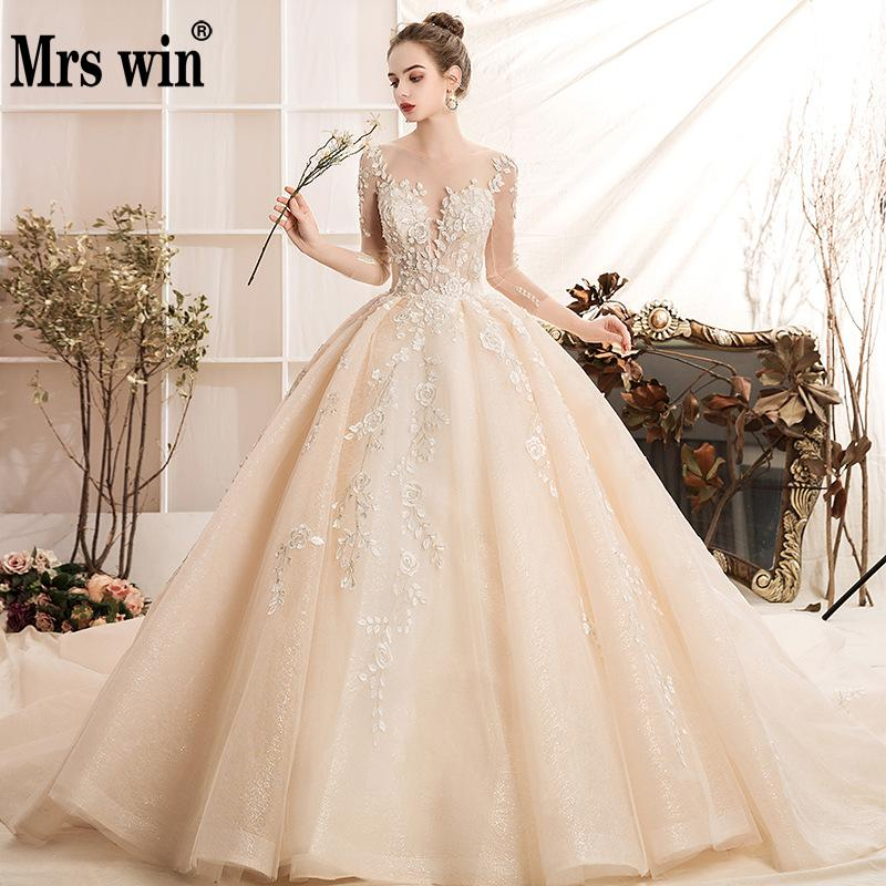 Wedding Dress 2019 The Full Sleeve Luxury Swee Train Ball Gown Princess Lace Embroider Vestido De Noiva Elegant Casamento Gown F