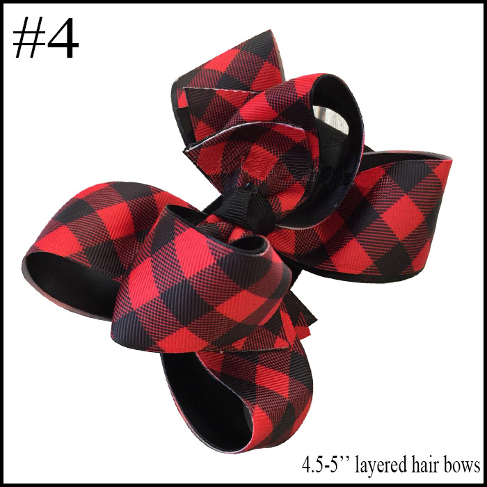 free shipping 10pcs Buffalo Plaid bows christmas Hair Bows With Clips plaid Kids Girls Princess Handmade Boutique bows