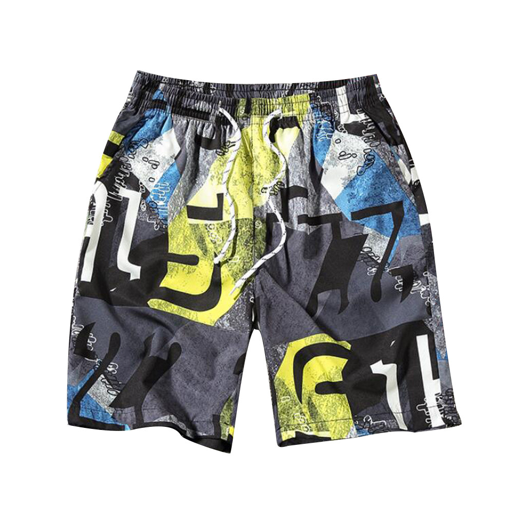 Briefs Pants Underwear Trunks Swim-Shorts Swimming for Men Beach-Print Breathable Running