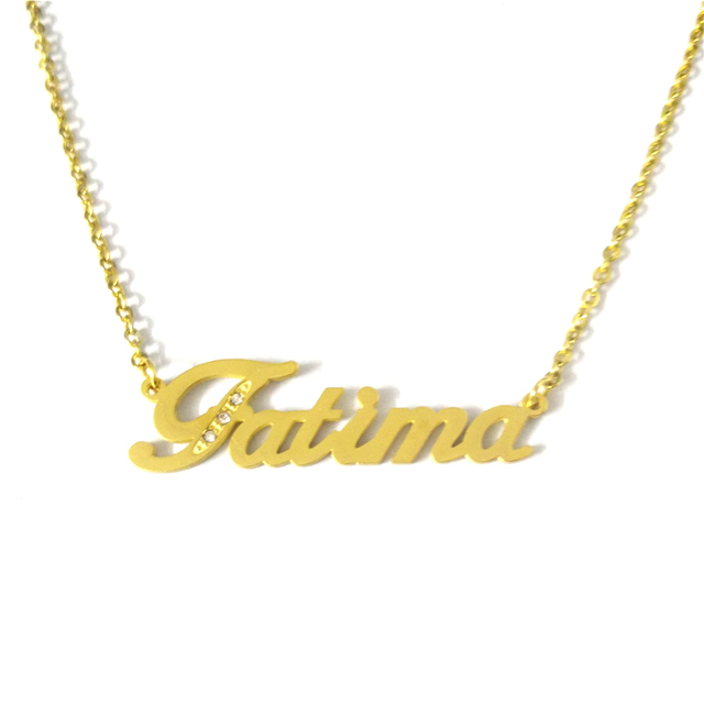 ebb4bedb9 FairLadyHood Stainless Steel Fatima Name Pendants Necklace Custom  Personalized Necklace Family Names Choker Necklace Custom