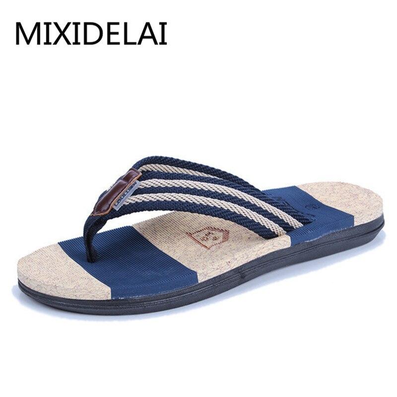Summer Casual men's Flip Flops Flat Sandals Shoes For men Striped Flip Flops Beach Sandals Shoes Man Outside Shoes Big Size39-45