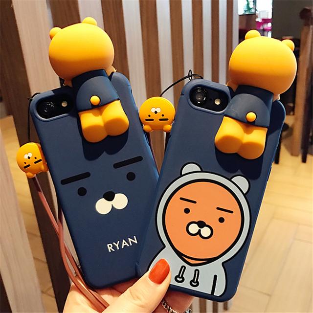 Mr.orange Korea Super Cute cartoon 3D Honey NEO Apeach Ryan soft silicon phone Case Cover For Iphone 6 6S 7 plus Hang Rope 4.7