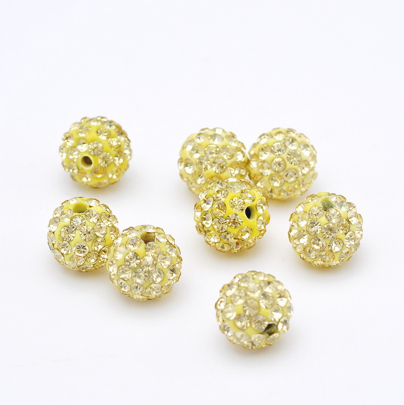 Beads 33color 50pcs 10mm Lemon Yellow Shamballa Beads Clay Pave Rhinestone Crystal Shamballa Ball Beads For Diy Jewelry Making
