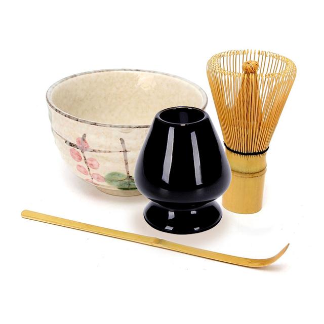 Tea Service Bamboo Natural Matcha Green Tea Powder Whisk Scoop Ceramic Bowl Set Japanese Teaware Ceremony