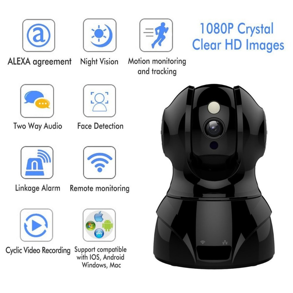 2.4GHz Wireless WiFi IP Camera 1080P HD Baby Monitor Motion Detection Two Way Audio Night Vision Camera Home Security Monitor