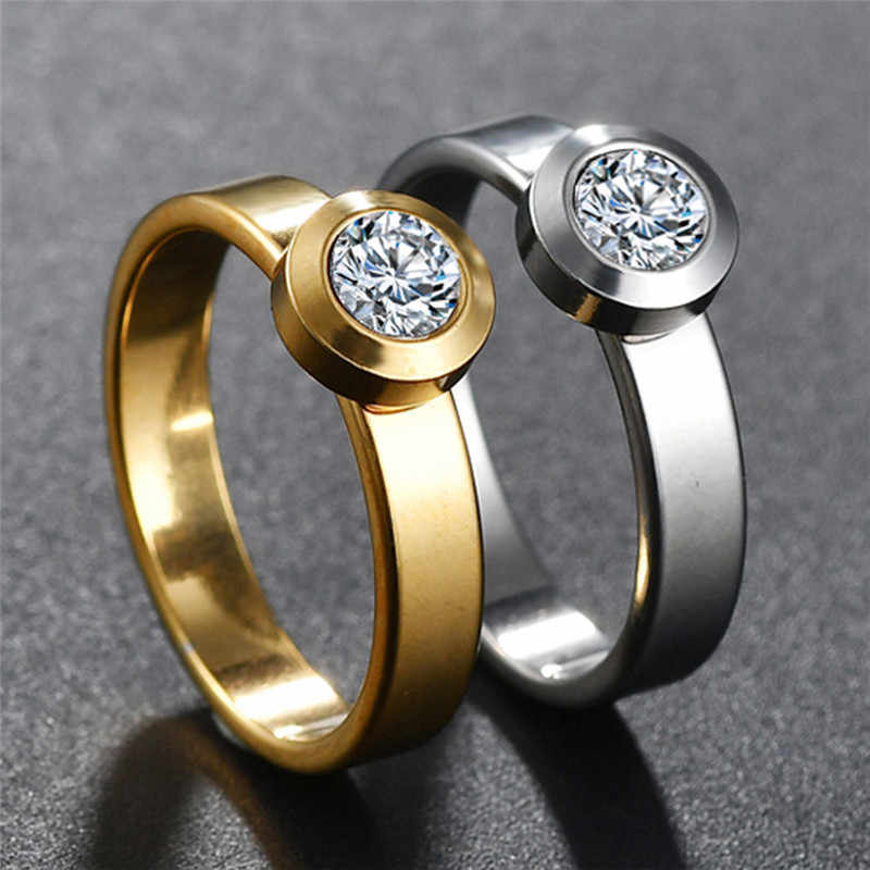 New Cute Romantic Gold Silver Round Finger Rings 316L Stainless Steel Rhinestone Ring Jewelry for Women Weeding Ring