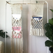 Bohemian Macrame Woven Tapestry Handmade Cotton Lace Tassels Hanging Bag INS Nordic Kids Room Decorations Wall Art Home Decor cotton fringed handmade woven wall hanging art