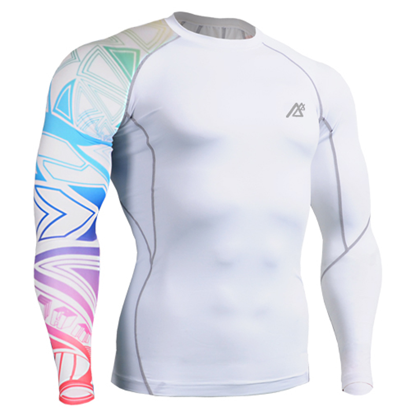 Men s T shirt Compression White T shirt Long Sleeve 3D Prints font b Bodybuilding b