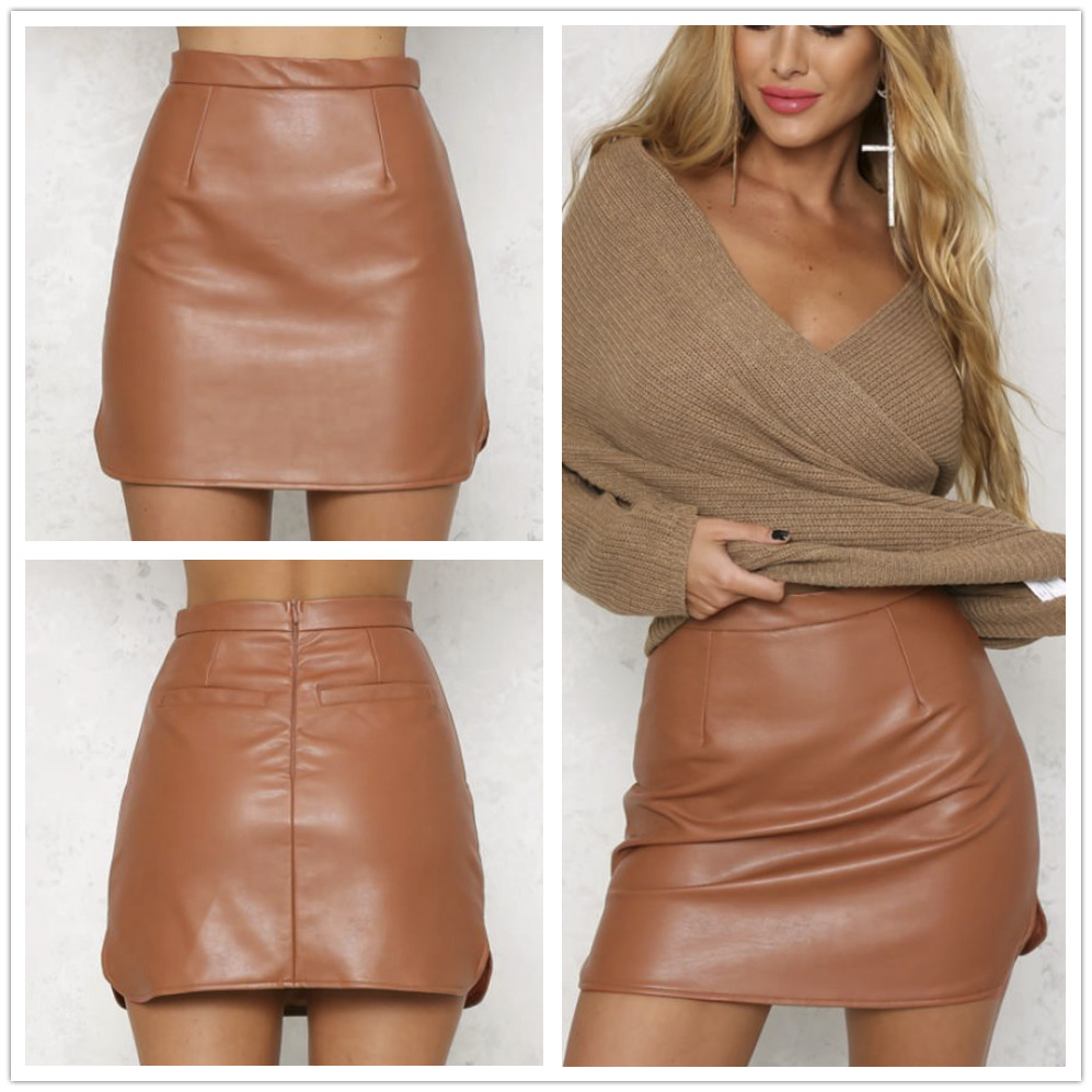 2848ff39bb High Waist Pu Faux Leather Women Skirt Real Photo Sexy Pencil Skirt Black  Brown Red Color Mini Skirt-in Skirts from Women's Clothing on  Aliexpress.com ...