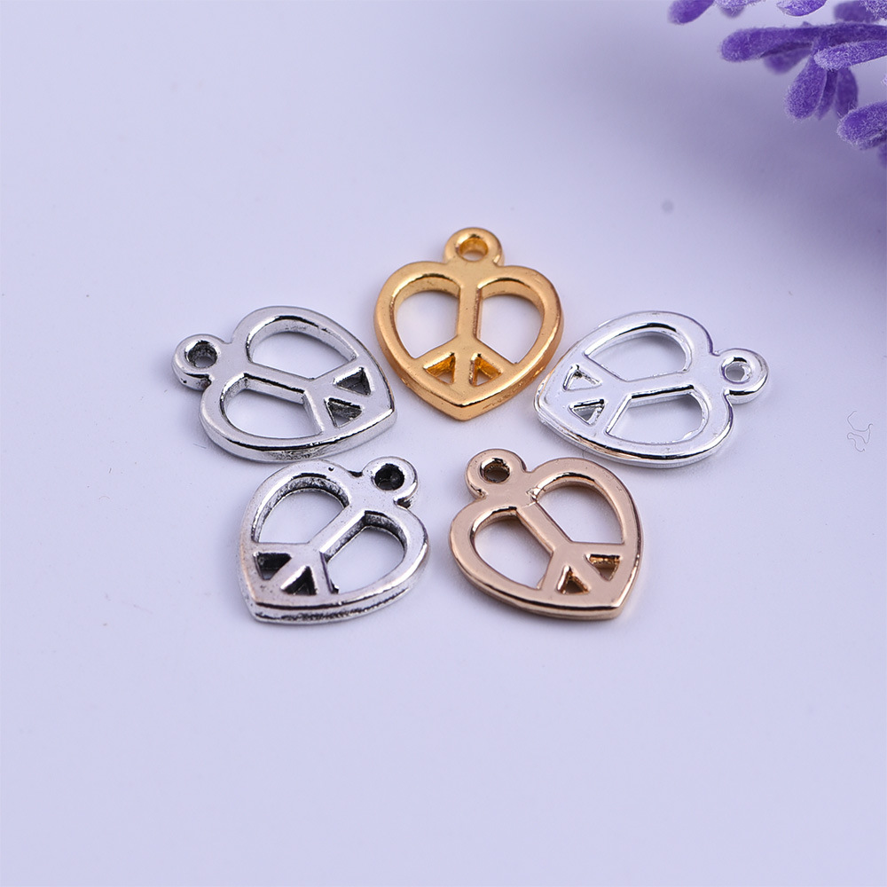 50pcs Gold/Silver Plated Peace Sign Charms Pendants for Jewelry Making DIY Handmade 12x14.5mm