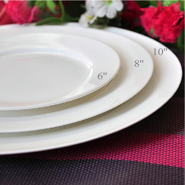 6 8 10 Zoll Keramik Bone China Porzellan Platte Weiss Flate Steak