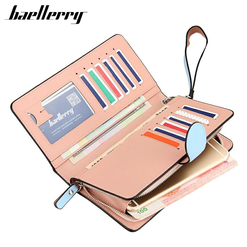 New Baellerry Fashion Women Long Wallet PU Leather Wallets 2016 Woman Lady Purse High Capacity Clutch Bag Purse For Women Gift new fashion women wallet leather brand wallets women wholesale lady purse high capacity clutch bag for women gift free shipping
