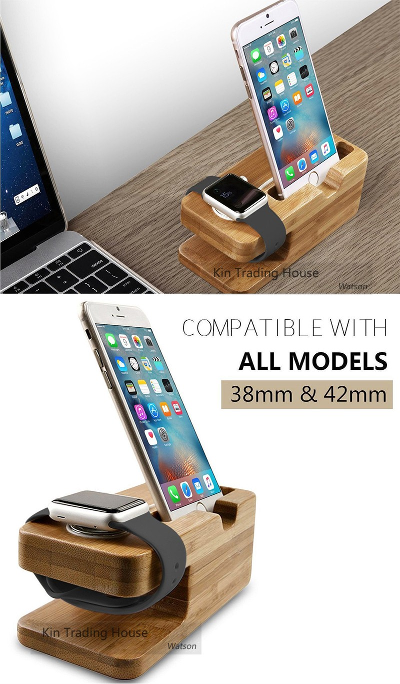 Bamboo Wood Stand Holder Station for Apple Watch iPhone 5s 6 7 X Dock 10