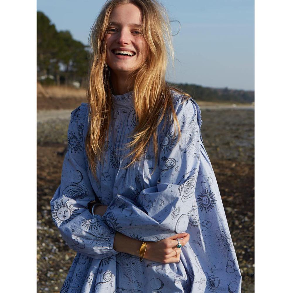 Star Moon motif imprimé coton lâche tenue décontractée 2019 femmes bohème style popeline mini robe
