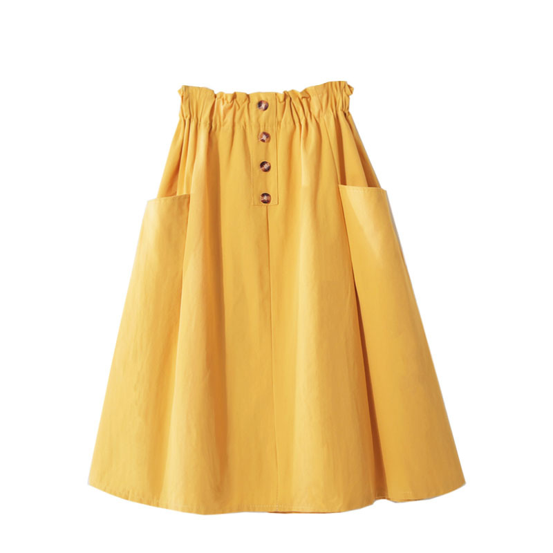 Spring Summer High-waist Cotton Yellow Skirts Womens 2019 Double-pocket Button Knee-length Autumn Black Skirts Womens Jupe Femme