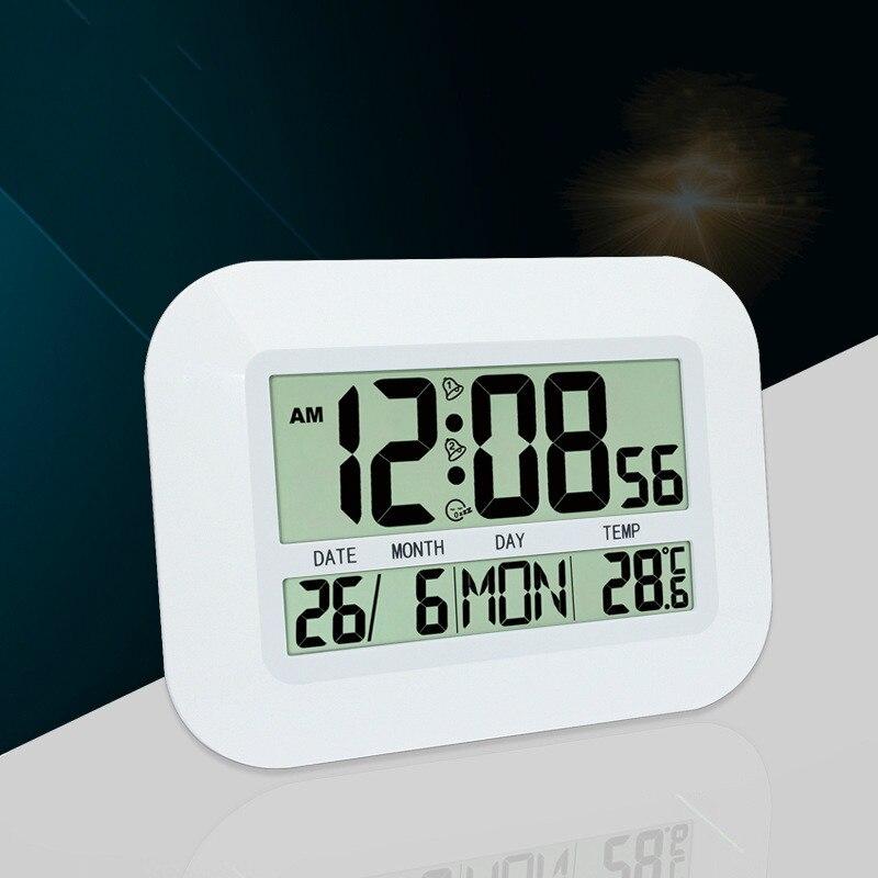 Digital LED Alarm Clock Large Screen Digital Electronic Calendar Living Room Mute Wall Clock Multi-function Display Table Clock