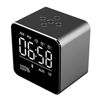 Alarm Clock with Wireless Bluetooth speaker,Metal Mini Portable Speaker 2 sets of Alarm Clock LCD Screen 8H Playing Time TF Card