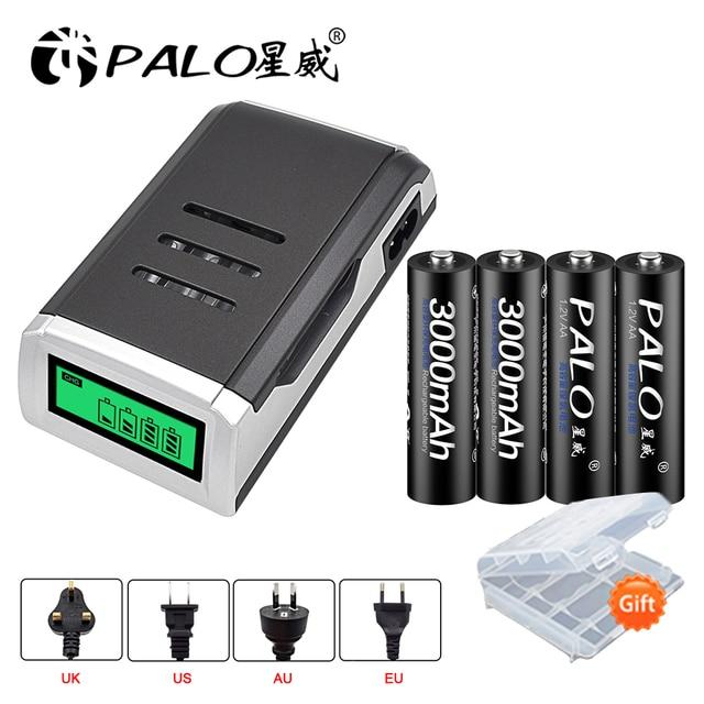 PALO LCD Thông Minh AA pin sạc cho PIN AA AAA pin sạc + 1.2 V NI-MH 3000 mAh pin sạc AA dành cho máy ảnh đồ chơi