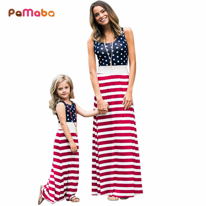 7d893e8efda40 PaMaBa Mommy and Me Patriotic Dress-up 4th of July Maxi Dresses American  Flag Long Gown Red White Blue Mother & Me Outfit Robes