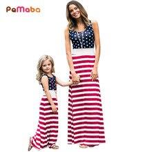 PaMaBa mamá y Me patriótico vestido-4th DE JULIO DE vestidos Maxi bandera americana vestido largo rojo blanco azul madre y Me traje trajes