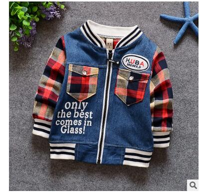 2016 spring children's clothing baby boys child long-sleeve splicing denim jackets general outerwear top cowboy coat