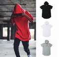 2016 kanye west hip-hop clothing hole hooded T-shirt Brand Casual extended tee men's hipster clothes Ripped t shirt tee hoodie