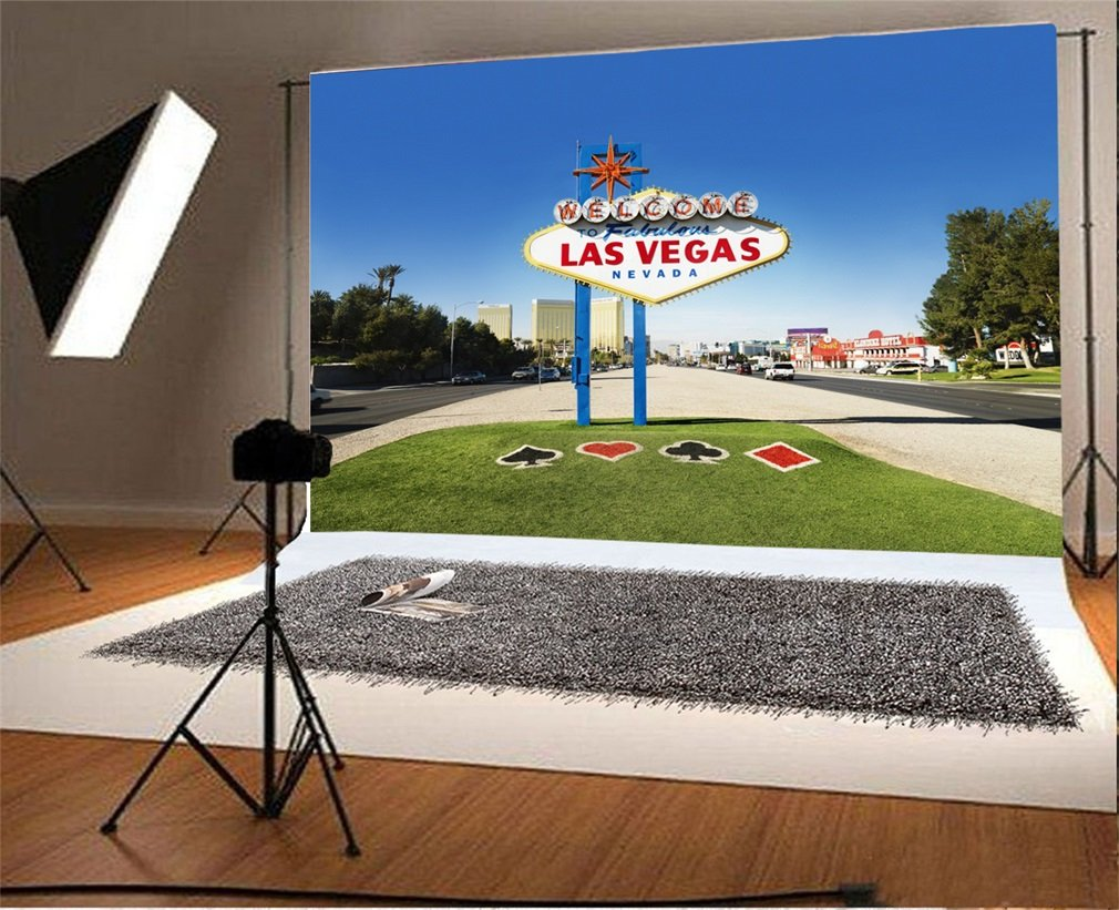 Photography Backdrop Welcome to Las Vegas Grass Field Nature Scene Photo Background Party thumbnail