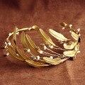 2016 nupcial enchapado en oro de hoja simulado de la perla Hairbands cabello accesorios de la boda joyería Novia Casamento Acessorios Para Mulher
