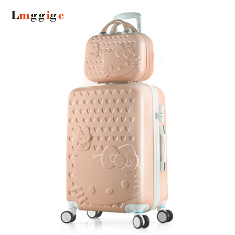 Hello Kitty Luggage Set,Children Women's Suitcase Carry-Ons bag,Colorful ABS Travel Box,Spinner Rolling Trolley Hardcase case lovely hello kitty luggage children trolley travel bag 18 inch cartoon kids suitcases hello kitty bag for girls