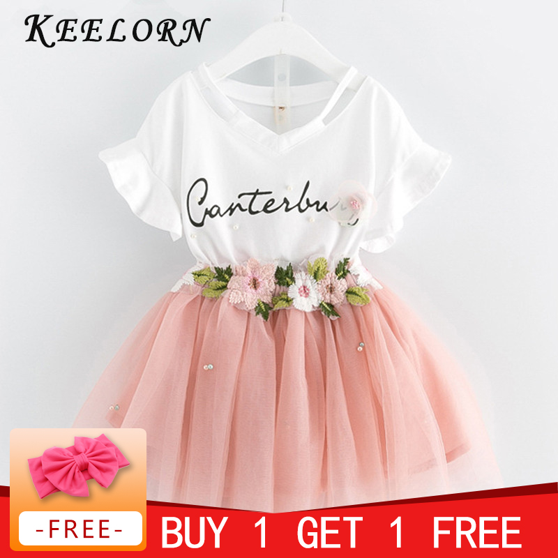 Kids Girls Clothing Sets 2018 Summer New Brand Girls Clothes White Cartoon Short Sleeve T-Shirt+Veil Dress 2Pcs Children Clothes 2017 summer girls sets clothes short sleeve chiffon baby girls sets for kids big girls t shirts and stripe shorts children suits