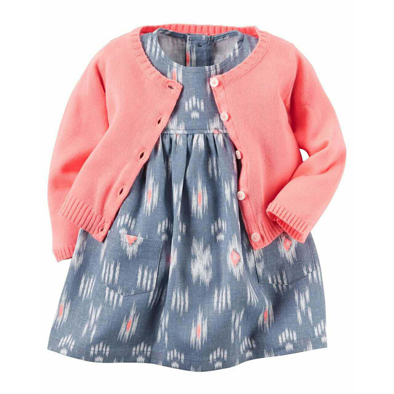 de846ffe69f5e Newborn Baby Girl Dress 2pcs Sets Floral Dresses+Long Sleeve Knitted  Cardigan Carter style Infant Toddle baby Girls Clothes set