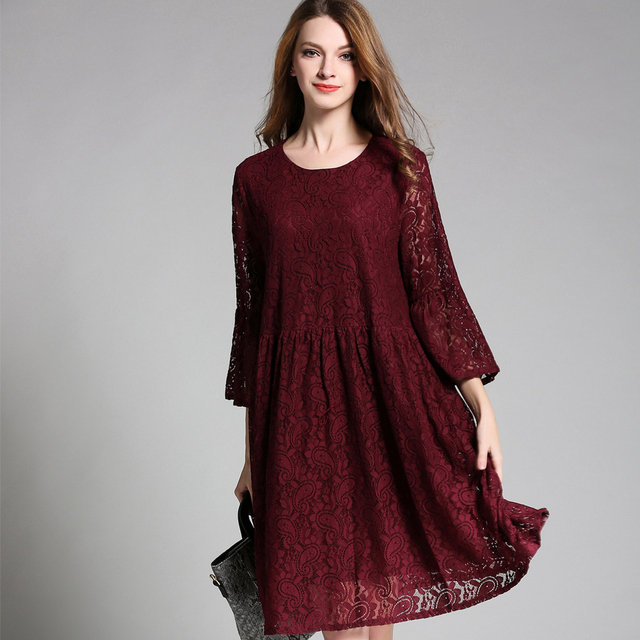 Spring autumn new Plus size A line Lace dresses Crew Neck 3/4 sleeve casual  Elegant dress Oversize women\'s clothing L to 4XL -in Dresses from Women\'s  ...