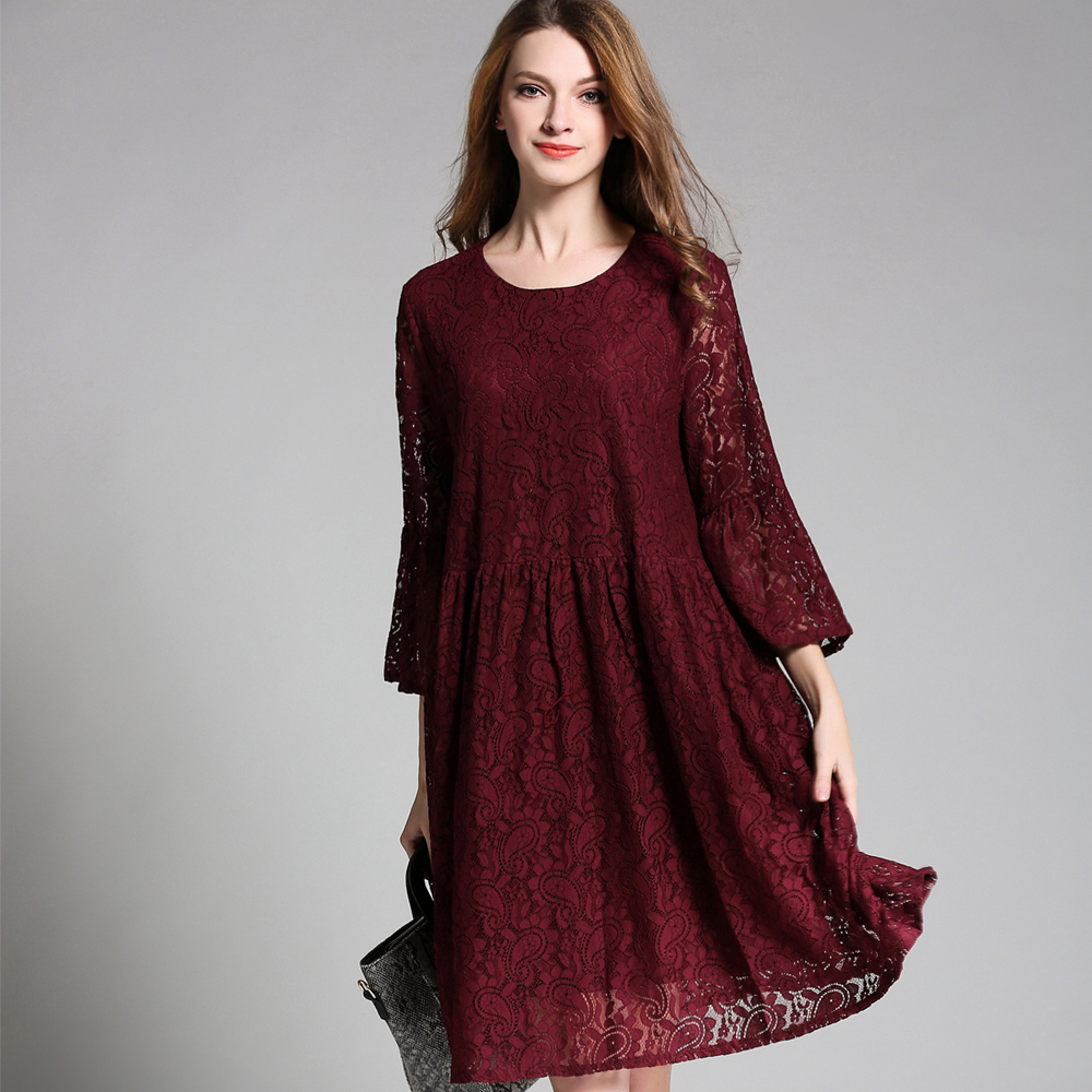Spring autumn new Plus size A line Lace dresses Crew Neck 3/4 sleeve casual Elegant dress Oversize women's clothing L to 4XL