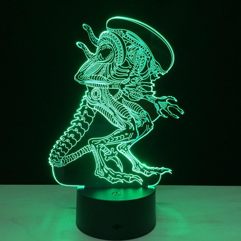 Alien 3D Led Night Light Rəngarəng Alien Queen Akril USB LED Masa - Gecə işığı - Fotoqrafiya 4