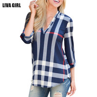 Plus Size 5XL Womens Blouse 2017 Summer 3 4 Sleeve V Neck Casual Plaid Shirts Ladies