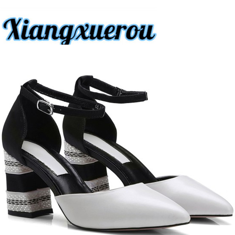 Xiangxuerou The new version of the new top layer of leather for the top of the new style is a high-heeled shoes with high heels cd smokie the other side of the road new extended version
