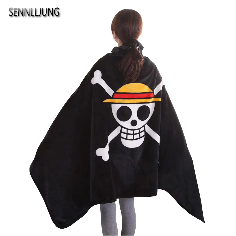 SENNLLJUNG 1 PCS Coral Velvet Blanket Pirate Flag One Piece A Blanket Warm Soft Blankets For Beds Sofa Car Portable Plaids