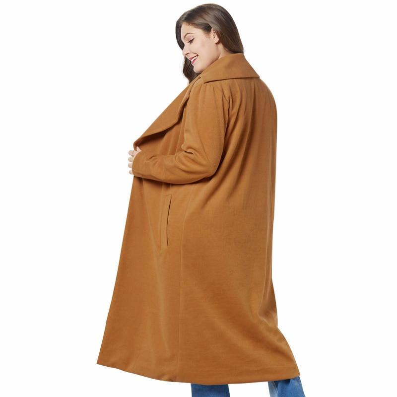De Femelle Bleu Longue Revers D'hiver Femmes Mélange Large coat brown Trench Grande Poche Couleur Outwear Solide Laine Oversize Manteau Taille ZqWw7fAyq