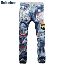 Sokotoo Men's personality patchwork badge hole ripped jeans Casual slim embroidery painted denim pants