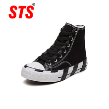 STS Brand 2019 New Spring Women Alpargatas Women Canvas Shoe Flats Sneakers Ladies Black Sneakers Lace Up Round Toe Casual Shoes цена