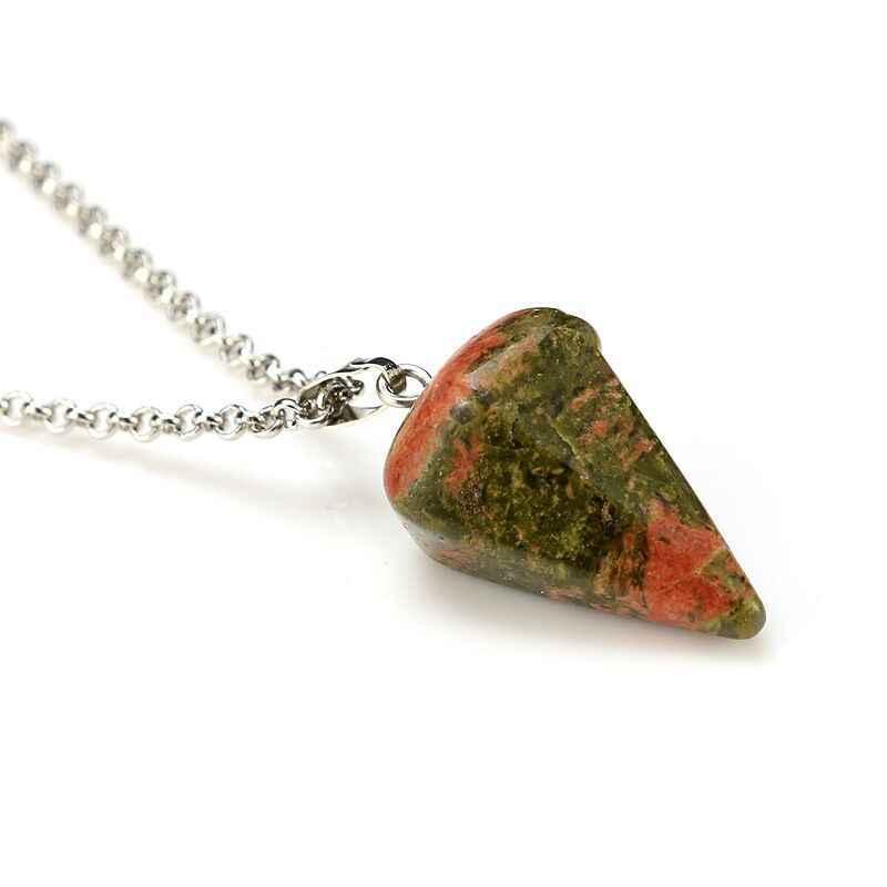 Маленький размер рейки маятник натуральный камень амулет Исцеление Кристалл гексагональная цепь Подвеска Шарм ожерелье для мужчин женщин ювелирные изделия