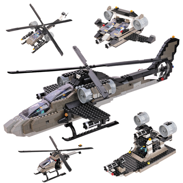 Woma J5640 387 Pcs Apache Helicopter Fighter 5 In 1 Model Building