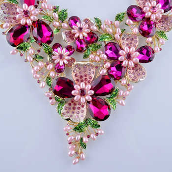Fuchsia Rhinestone Golden Plated Flower Statement Necklace Set Pink Simulated Pearl Plant Bridal Wedding Party Pearl Jewelry Set